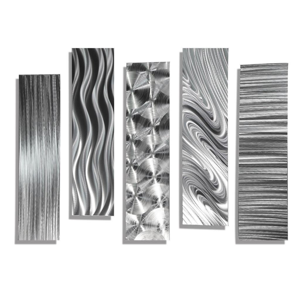 Set of 5 silver abstract metal wall art accents by jon for Silver wall art
