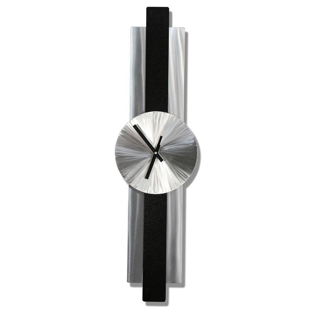 Silver Black Metal Wall Clock Modern Contemporary Metal
