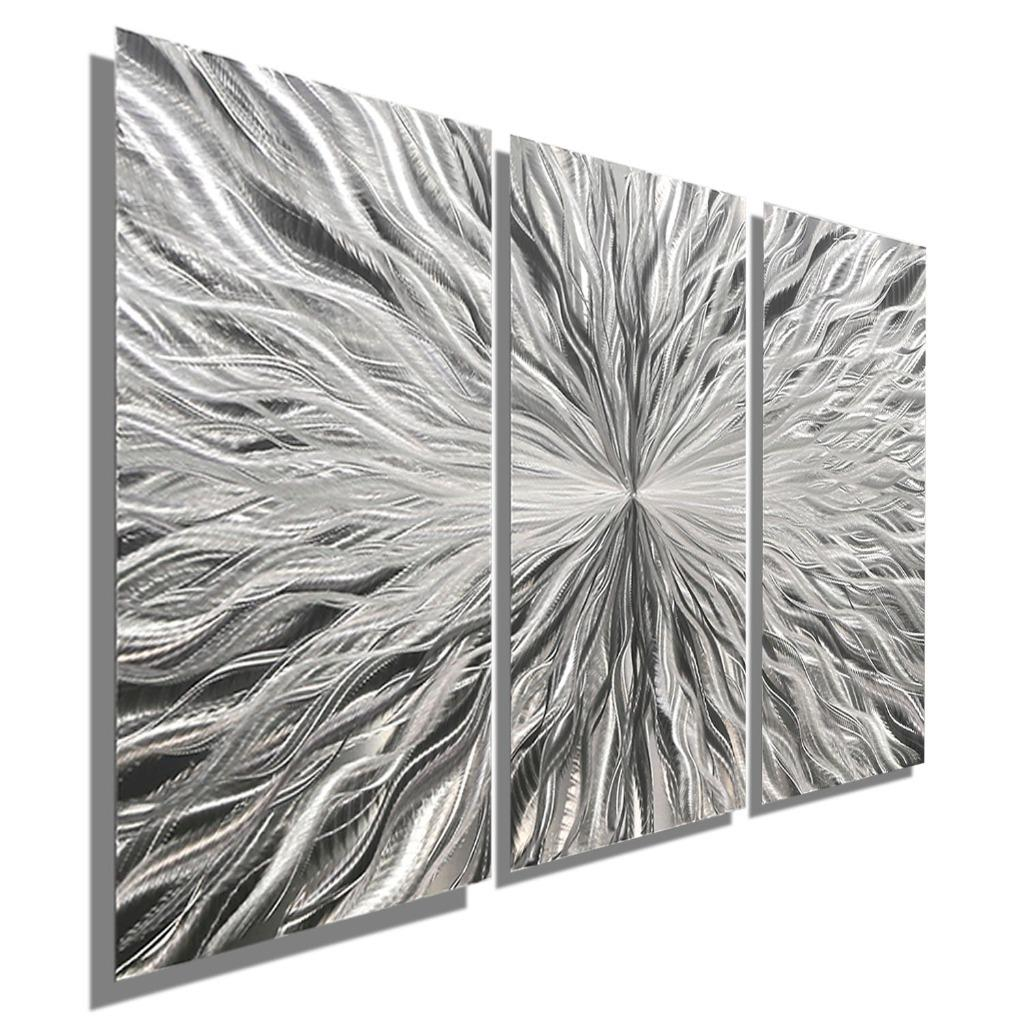 Silver contemporary abstract 3 panel metal wall art for Silver wall art