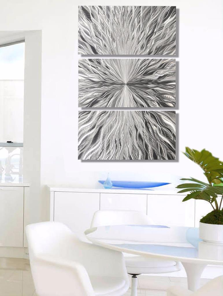 Contemporary Silver Wall Decor : Silver contemporary abstract panel metal wall art