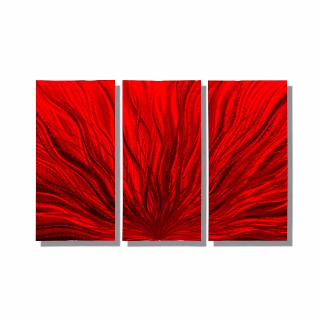 Red modern metal wall art sculpture abstract metal wall for Red wall art