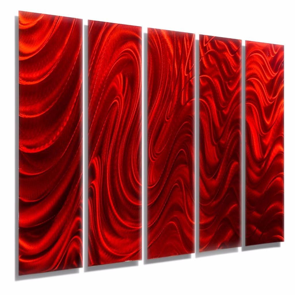 Red abstract metal wall art sculpture epic modern metal for Red metal wall art