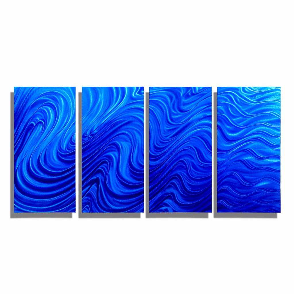 Large multi panel modern wall sculpture blue metal wall for Large panel wall art