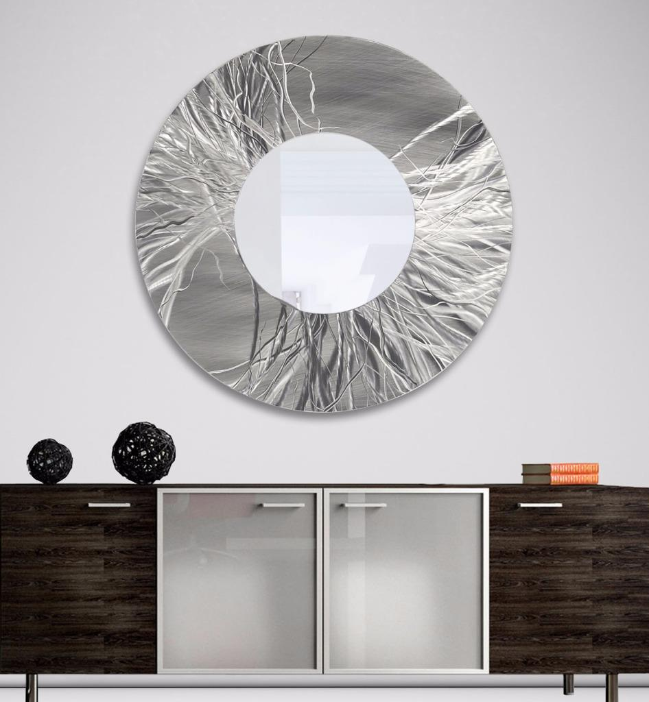 Contemporary Silver Wall Decor : Silver contemporary metal mirror hanging modern