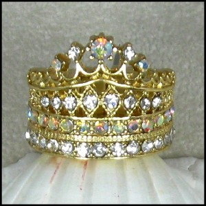 QUEEN FOR A DAY Gold Clear Crystal Crown Statement Ring