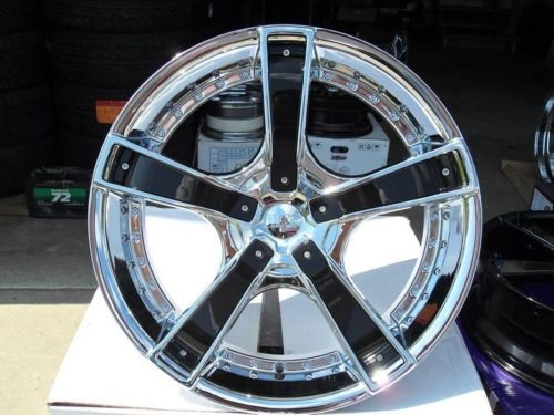 20 Chrome Wheels Rims Tires Package Gloss Black Inserts Starr 663 FWD