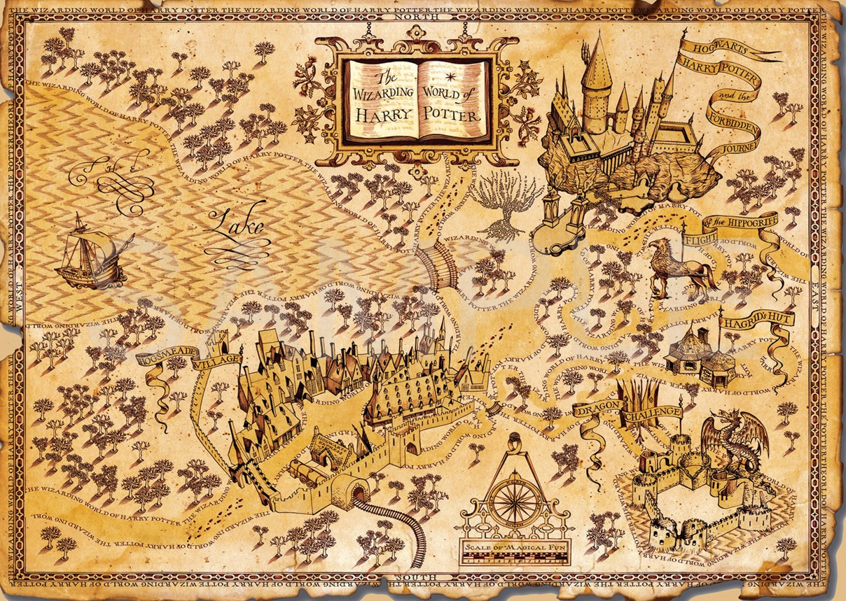 Harry potter world map a3 poster print amk1459 ebay for 3 by 3 prints