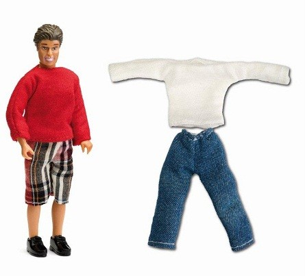 Lundby-Smaland-Dollhouse-Miniature-Father-Family-Doll-with-Clothes-Doll-House