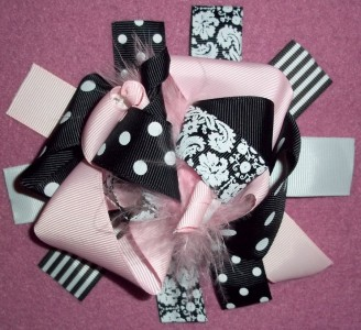 big pink hair bow feathers boutique women girls bows flat