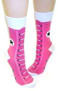 Pink-n-White-Cute-Shoe-Design-Novelty-Socks-Converse