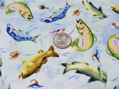 Red rooster white birch cove fabric fish trout catfish for Blue fish cove