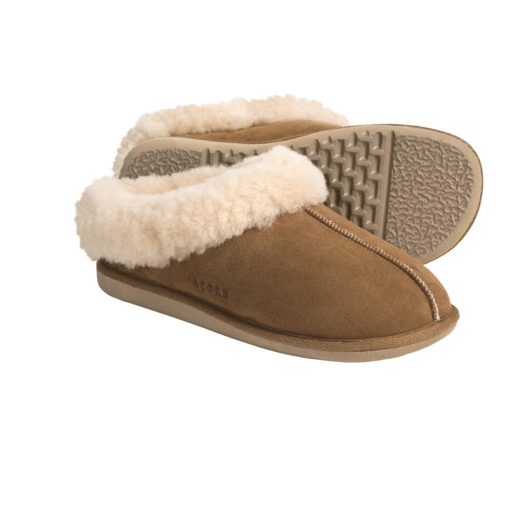 Acorn Klog Clog Shearling Suede Slippers Womens New Walnut Ebay