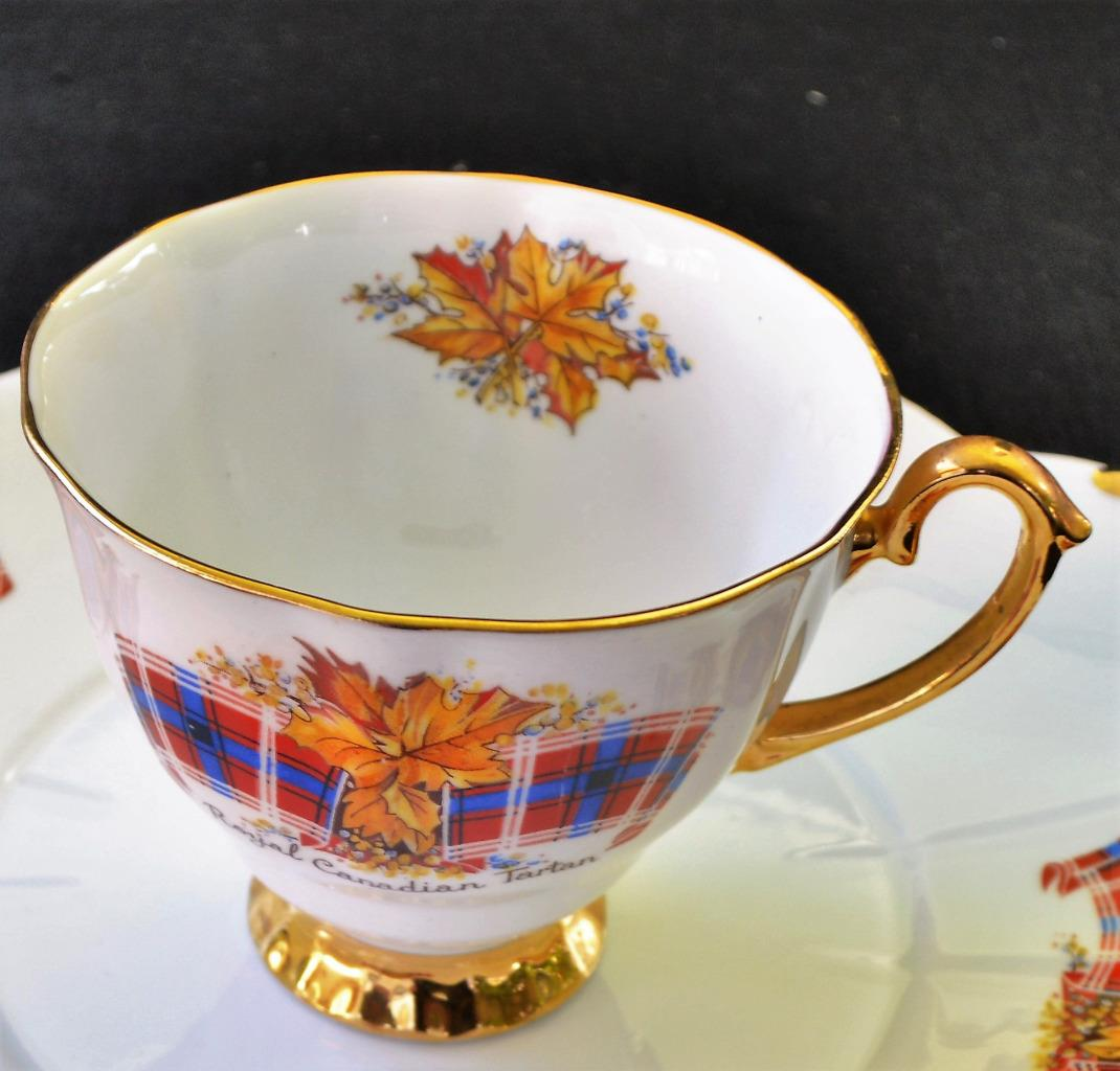 Vintage-WINDSOR-Bone-China-England-ROYAL-CANADIAN-TARTAN-Footed-Cup
