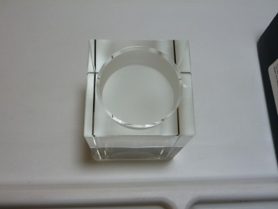 Brand New Oleg Cassini Large Rectangle Crystal Votive Candle Holder