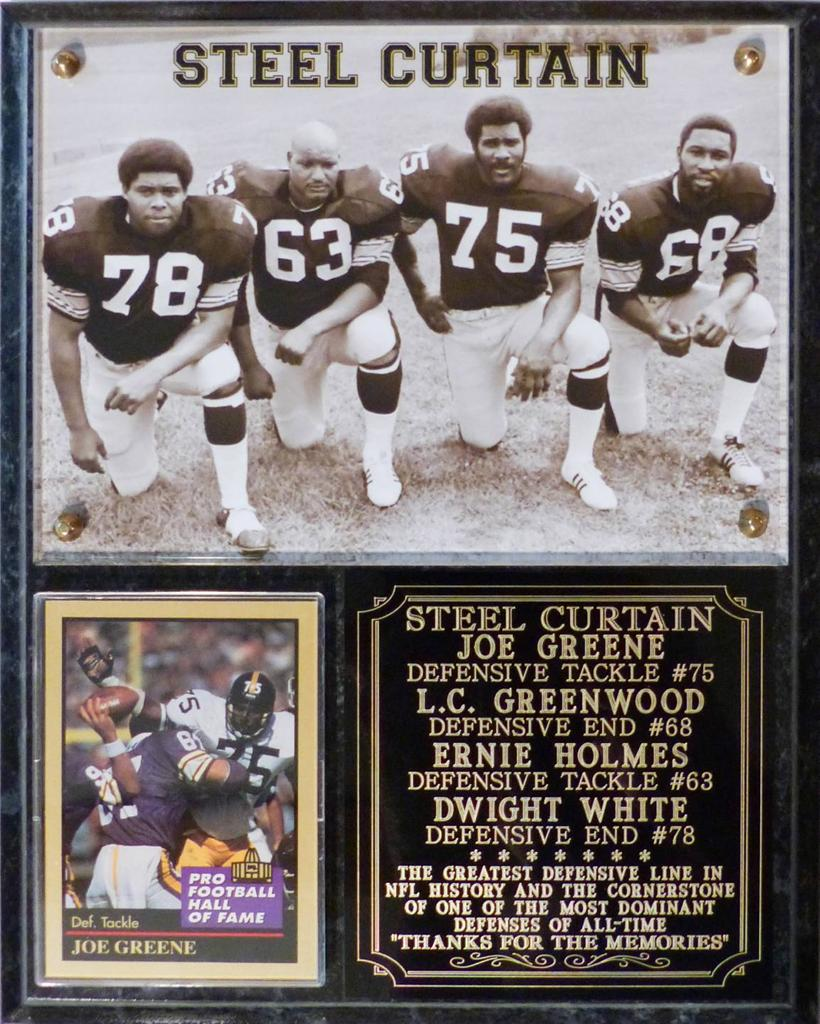 Steel Curtain Pittsburgh Steelers Photo Card Plaque Greene