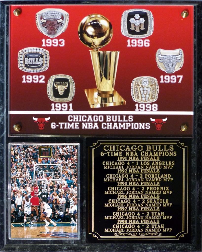 Chicago Bulls 6-Time NBA Champions Photo Plaque Michael ...