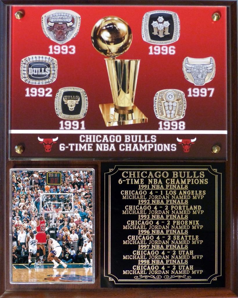 Chicago Bulls 6 Time NBA Champions Photo Plaque