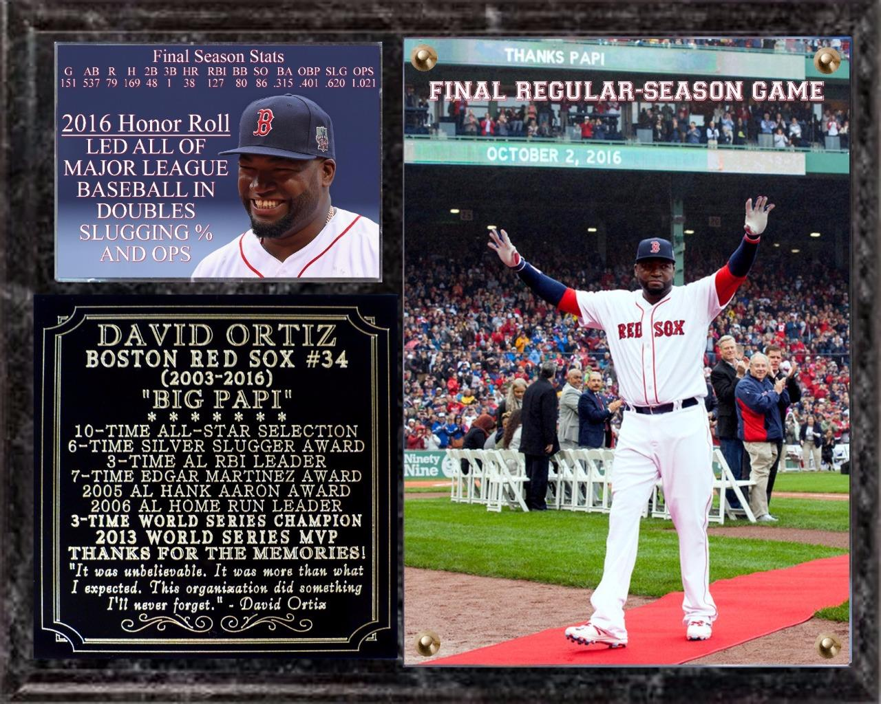 David Ortiz Final Regular-Season Game Photo Plaque 10-2 ...