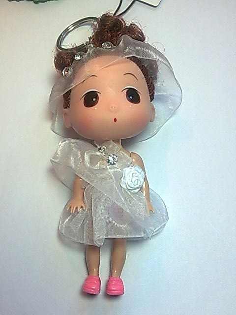 Big Head Doll with key holder & phone strap -4.5 inch high
