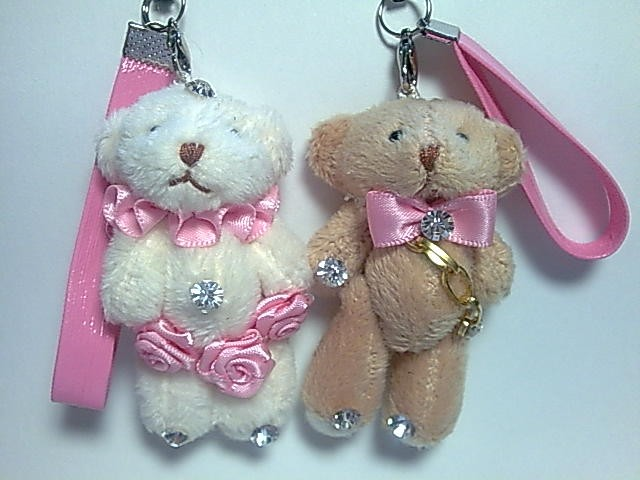 Twin Teddy Bear with phone strap 2.75inch high