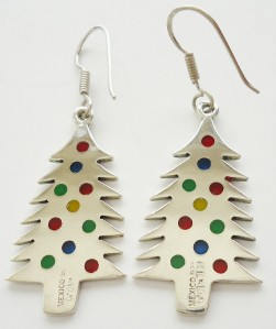 TAXCO, Mexico STERLING SILVER Christmas Tree Dangle Earrings w/ Enamel