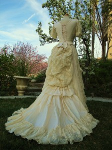 Silk taffeta victorian bustle dress ball gown wedding sass for Old west wedding dresses