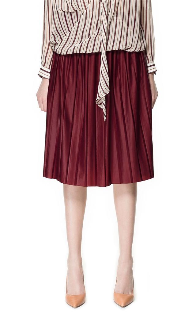 zara bordeaux leather effect skirt sizes xs s m bnwt