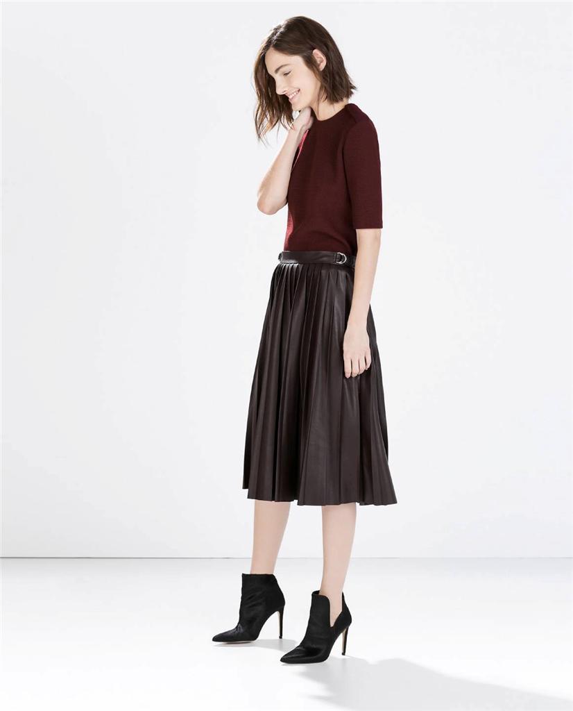 zara wine faux leather pleated midi skirt size s bnwt ebay