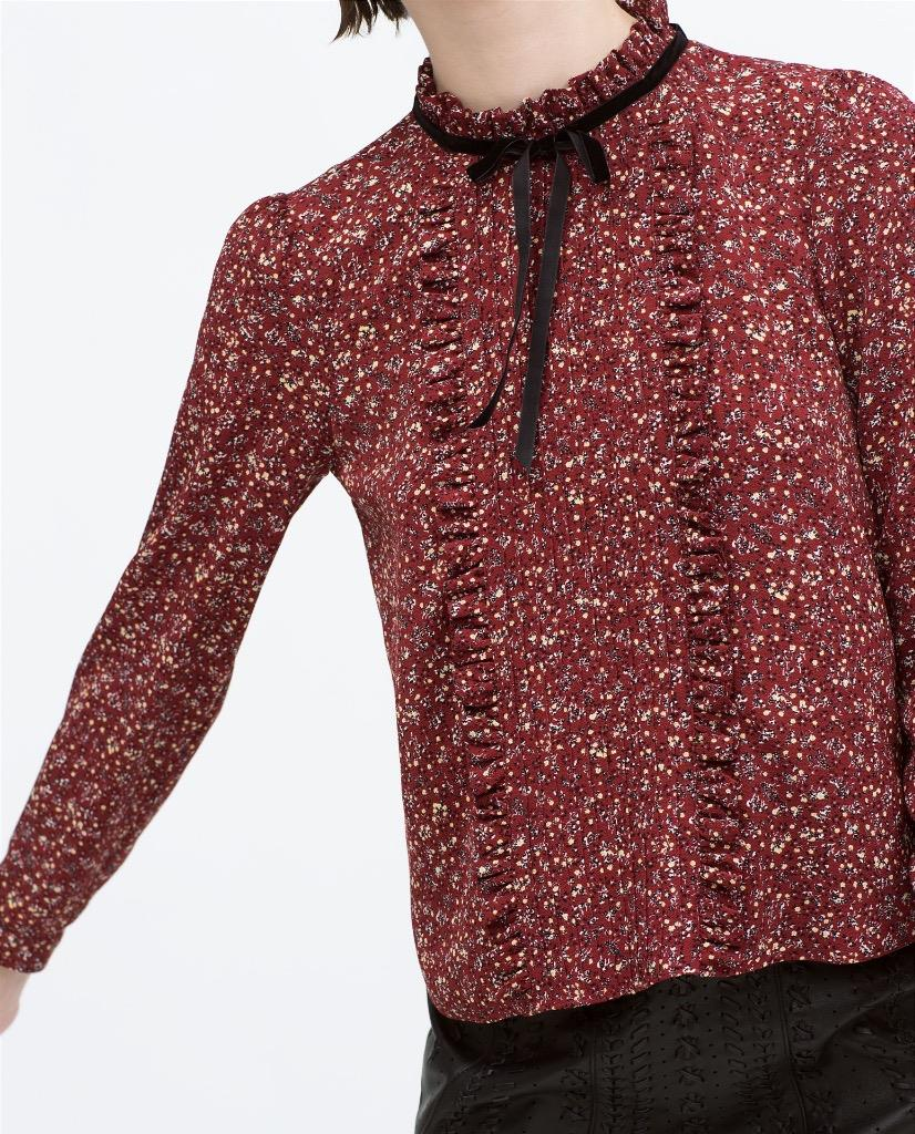 Zara Printed Blouse Ebay 43