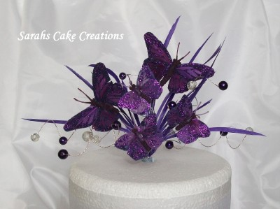 Butterfly Cake Decoration Uk : Rich Purple Butterfly Cake Topper - Wedding Birthday ...