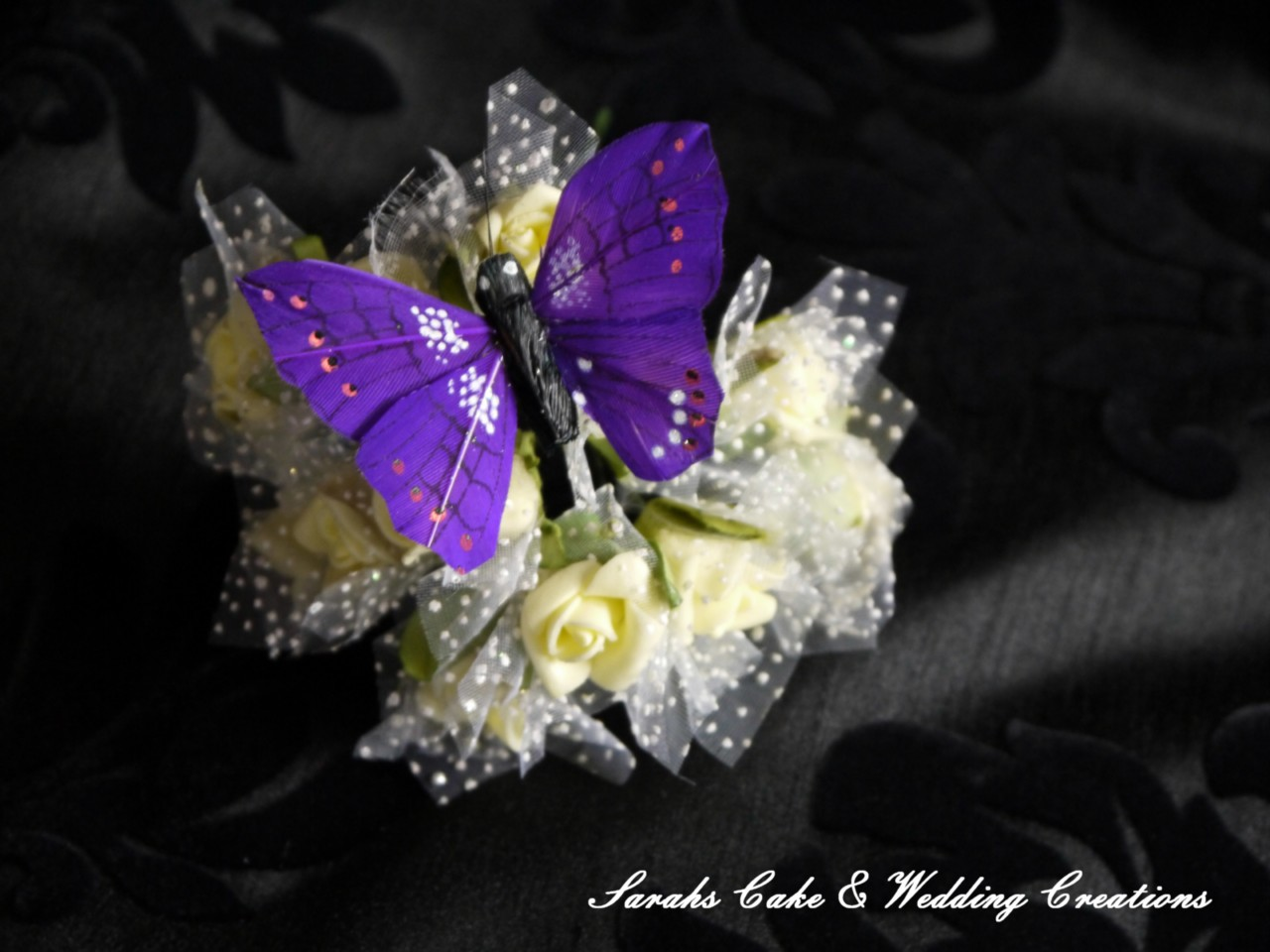Stunning Purple Feather Butterfly Wedding Cake Flower