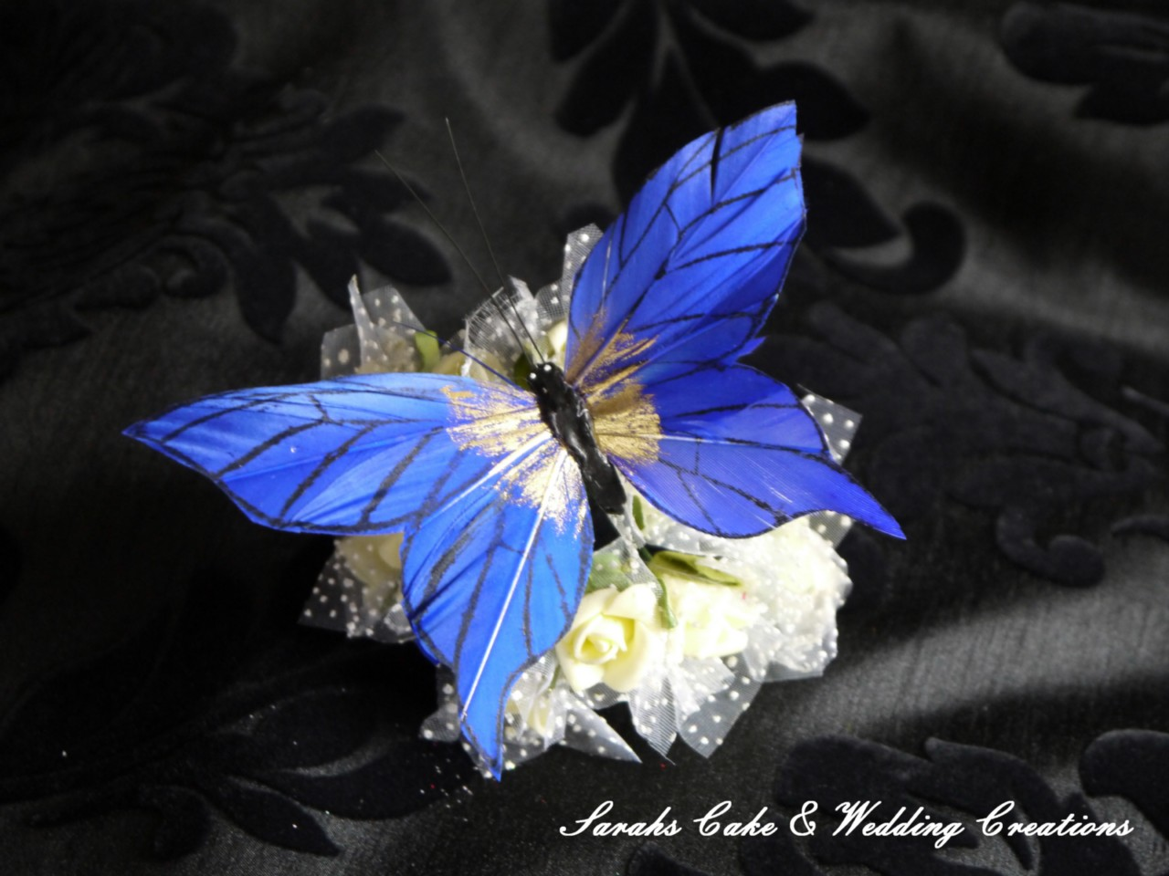 Stunning Blue Feather Butterfly Wedding Cake Flower