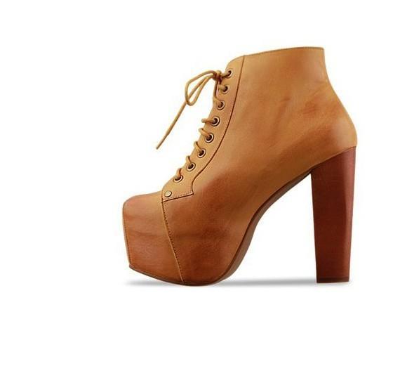 Cuban Heels Platform Ankle Boots