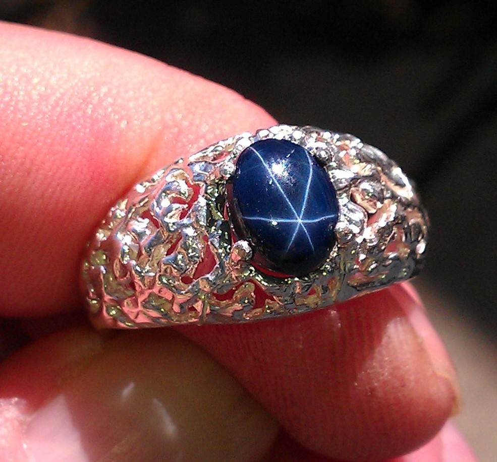 Mens Deep Blue Star Sapphire Nugget Ring Natural Genuine 6 Ray Star
