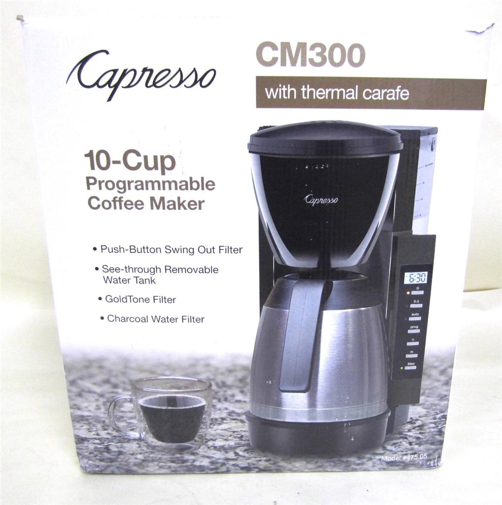 Programmable Coffee Maker Stainless Steel Carafe : Capresso CM300 10Cup Programmable Coffee Maker w/ Stainless Steel Thermal Carafe eBay