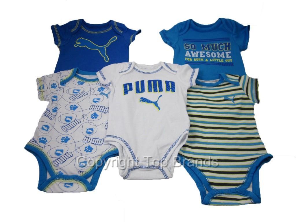 5 Piece Puma Infant Bodysuits Baby Boy Clothes Romper Blue