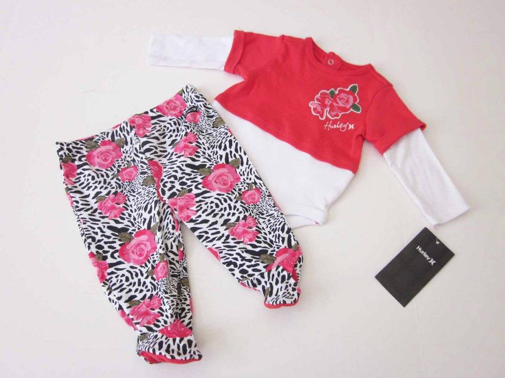 Hurley Infant Baby Girl Outfit Long Sleeve Bodysuit Pants