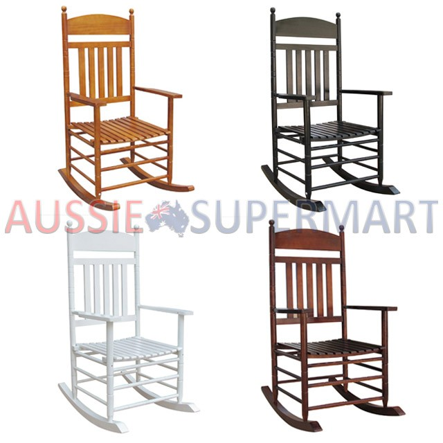 Details about New Wooden Rocking Chair Nursery Wood Black White Brown