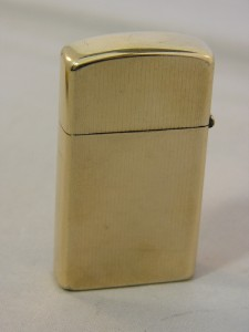 1958 10K Gold Filled Engine Turned Slim ZIPPO Lighter w/ Pouch