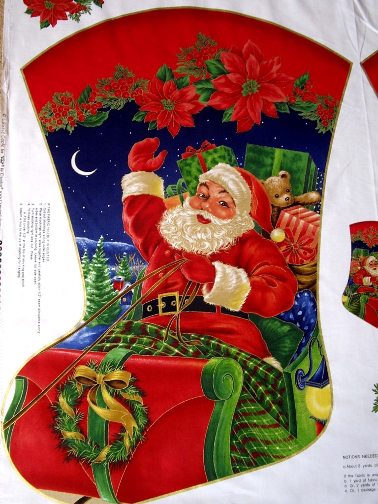 giant christmas stocking panel for quilting sewing - Giant Christmas Stocking