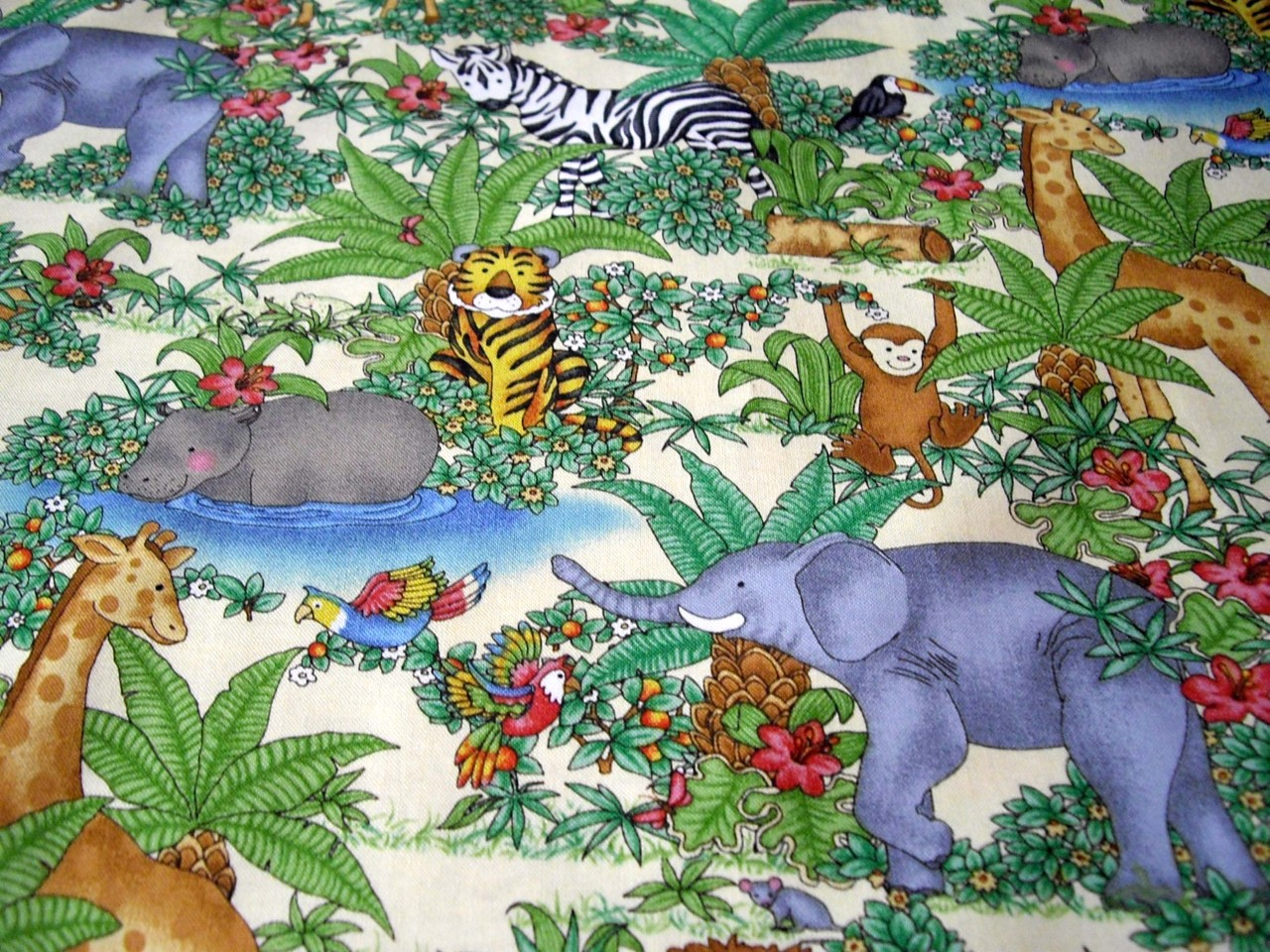 Jungle animals backing fabric quilting sewing baby kids for Kids jungle fabric