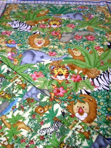 Jungle animals backing fabric quilting sewing baby kids for Childrens jungle fabric