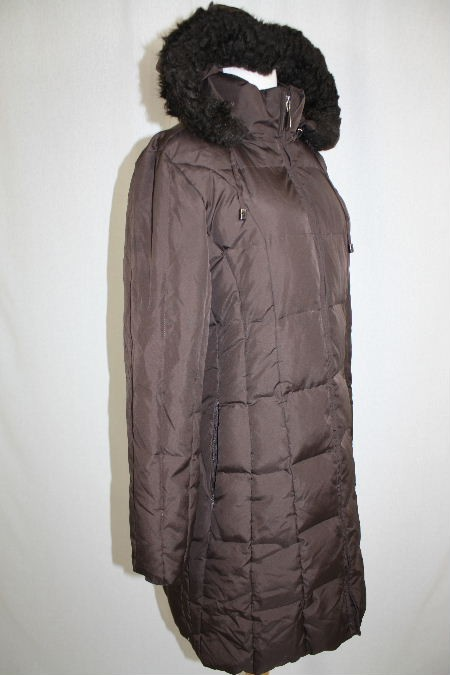 New Womens Michael Kors Brown Long Hooded Down Filled Puffy Jacket