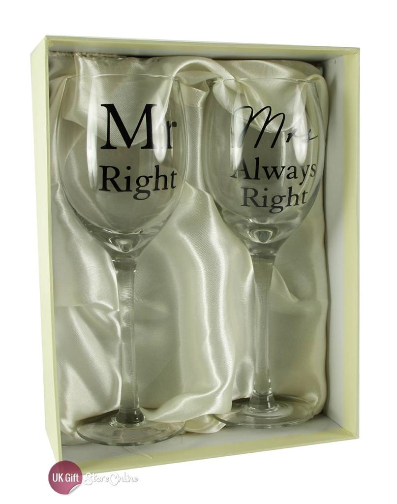 Mr Right And Mrs Right Wedding Gift Wine Glasses WG496