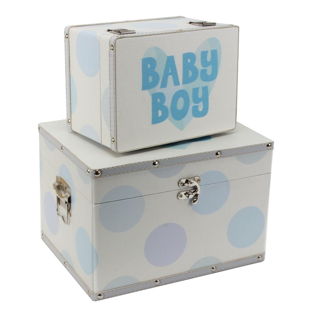 Baby Gift Keepsake Box : Baby boy gift two storage boxes keepsake trunks
