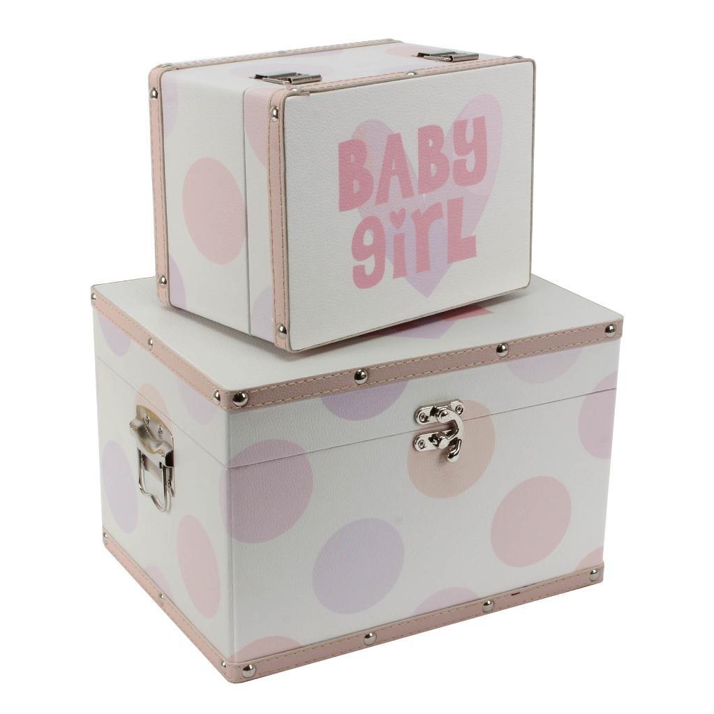 Decorative Baby Gift Box : Baby girl gift two storage boxes keepsake trunks