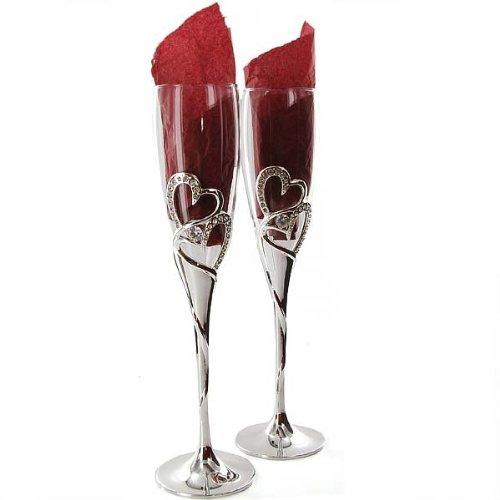 Wedding Gift Champagne Glasses : ... about Silver Plated Heart and Crystal Champagne Glasses Wedding Gift