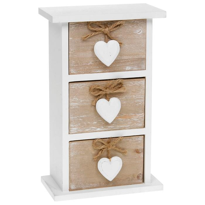 Wooden Storage Heart Design Small Draw Chest Unit Triple ...