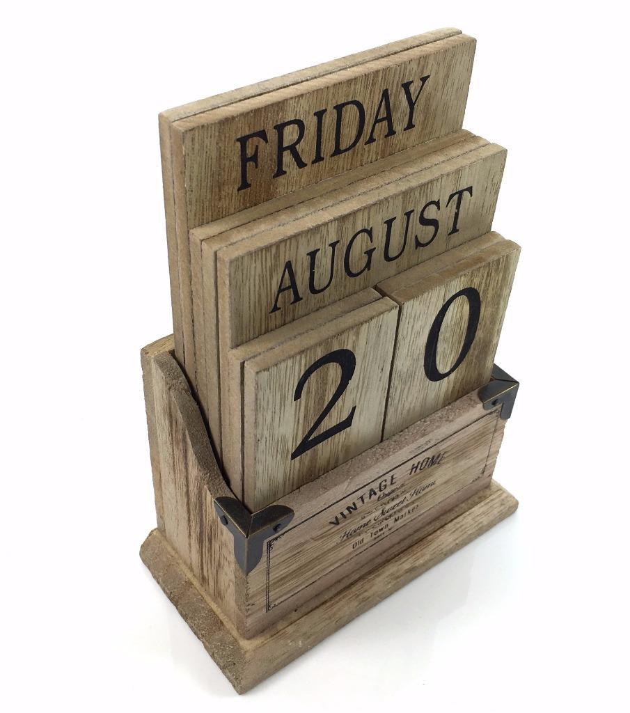 Calendar Wooden Blocks : Perpetual wooden block calendar black vintage shabby chic