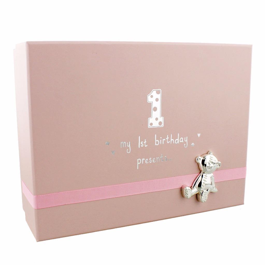 Baby Girl 039 S 1st Birthday Gift Keepsake BOX With Teddy